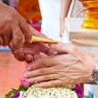 Wedding of Cultural Thailand on during give holy water that pare — Stock Photo #22986528