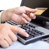 Payment on during using Credit card — Stock Photo