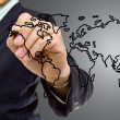 Businessman write Map world — Stock Photo