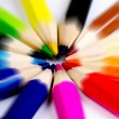 Colorful of pencils in concept all for one — Stock Photo