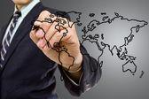 Businessman write Map world — Stock Photo