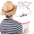 Traveller consider and plan to travel — Stock Photo