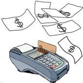 Close-up van de betaling machine op tijdens het gebruik van creditcard — Stockfoto
