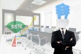 Lamp Businessman — Stock Photo