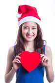 Krásná asijská dívka drží dárek — Stock fotografie