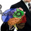 Businessman write brain and gear concept — Stock Photo