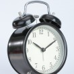Vintage black color alarm clock — Stock Photo