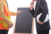 Engineer discuss and present his job for prepare — Foto Stock