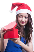 Lovely Asian girl hold gift — Foto Stock