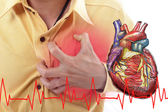 Heart Attack ,Use hand grabbing a chest — Stock Photo