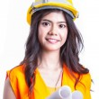 Stock Photo: Portrait AsiEngineer with work concept