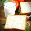 Close up breakfast with fresh milk food — Stock Photo