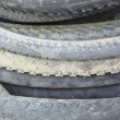 Stack motocycle tires — Stock Photo