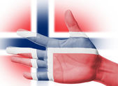Cheering fan with Painting national Norway flag — Stock Photo