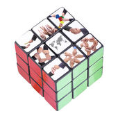 World business inside Six color cube puzzle — Stock Photo