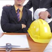 Engineer discuss and present his job for prepare — Stock Photo