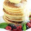 Mixed berry pancakes — Stock Photo