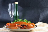 Singapore chili mud crab with wine — Stock Photo