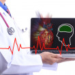 Doctor Show and check patient heart — Stock Photo