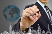 Businessman hand write Travel concept — Stock Photo