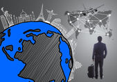 Cestování letadlem v okolním světě, globální — Stock fotografie