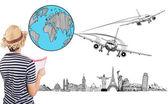 Reiziger plan om te reizen — Stockfoto