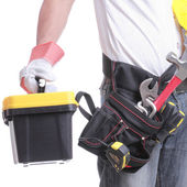 Worker holding tool — Stock Photo