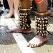 Stock Photo: Close up devotee's leg with small bells