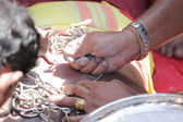 PENANG, Malaysia - JANUARY 17: Hindu devotee carries kavadi hims — Stock Photo