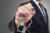 Businessman wrote Brain concept — Stock Photo