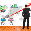Stock Photo: Businessmwrote red arrow for presentation brain stromming
