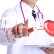 Doctor touch heart beat graph — Stock Photo