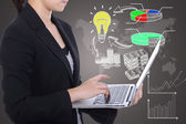 Business women key for use her idea to creative market share  — Stock Photo
