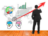 Businessman wrote red arrow for presentation brain stromming  — Stock Photo