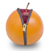 Unzip orange  fruit — Stock Photo