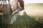 Trattore fertilizza colture — Foto Stock