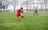 Little Boy Shooting at Goal — Stock fotografie