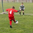 Stock Photo: Little Boy Shooting at Goal