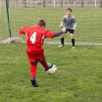 Little Boy Shooting at Goal — Stock Photo