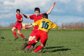 Мальчики ногами Футбол — Стоковое фото