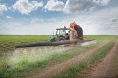 Tractor spraying soy — Stock Photo