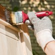 Maintaining of wooden surfaces — Stock Photo