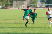Kids football match — Stok fotoğraf