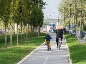 Family riding bicycles — Stock Photo