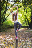 Girl exercise — Stock Photo