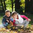 Little kids in nature — Stock Photo