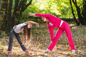 Exercising in a forest — Stock Photo