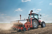 Tractor and seeder  — Stock Photo