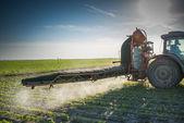 Trattore irrorazione di pesticidi — Foto Stock