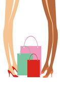 Shopping ladies — Vector de stock
